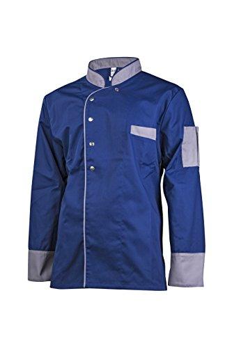 Clinotest Kochjacke, Bäckerjacke, Langarm mit Druckknopfverschluss, Verschiedene Trendfarben, Modern Style (XL, Blau)