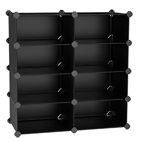 SONGMICS 4-Tier Shoe Rack, Space Saving 16-Pair Plastic Shoe Storage Organizer Units, Cabinet Storage Organizer, Ideal for Entryway Hallway Bathroom Living Room and Corridor, Black ULPC24H