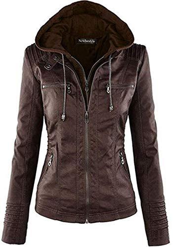 Newbestyle Jacke Damen Lederjacke Frauen mit Zip V Ausschnitt Kunstleder Bikerjacke Jacket Casual Übergangsjacke (Normale EU-Größe) (Dunklebraun, L/42)