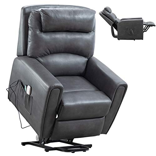 Pongsona Electric Power Lift Recliner Chair Sofa Heated Vibration Massage Lift Chairs Recliners for Elderly,Soft Leather Recliner Motorized Living Room Chair with 2 Side Pockets,Up to 330 LBS (Grey)