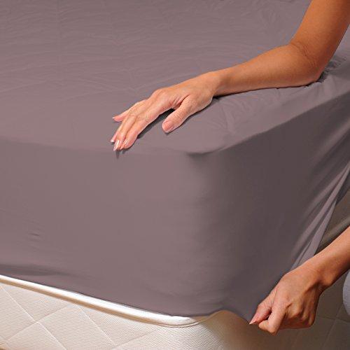 SoulBedroom Brun cendré Drap Housse 100% Coton Linge de lit, Uni Couleur, 1 Place et Demi - 120x190 cm