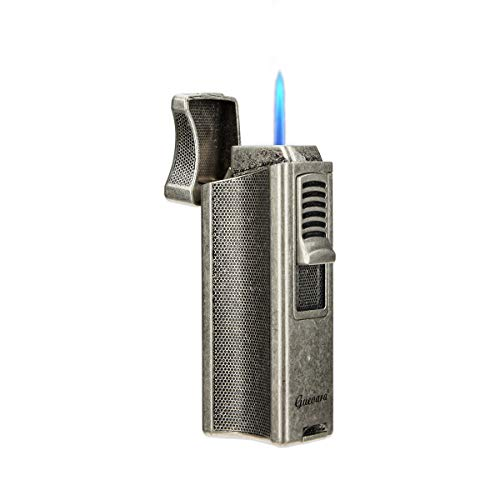 Cigar Lighters Single Torch High Quality Best Cigar Lighter with Stand Holder Windproof Butane Refillable Scorch(Without Gas) (Silver)