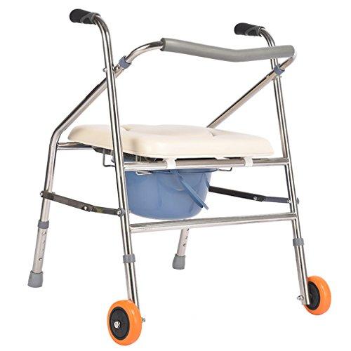 Guo Shop- Luxe Fauteuil multifonction pliable Personne âgée/femme enceinte/handicapée Siège de toilette Chaise de bain Walker Hauteur réglable Acier inoxydable sur roulettes Salle de bain Tabour
