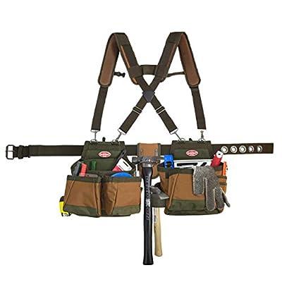Bucket Boss Airlift 2 Bag Tool Belt with Suspenders in Brown, 50100 by Bucket Boss