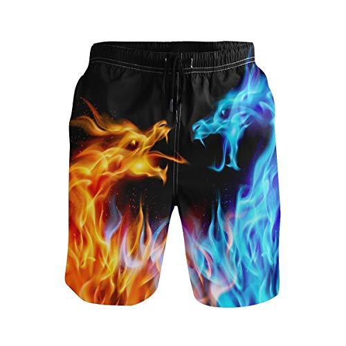 SENNSEE Herren Jungen Badehose Fire Dragon Orange Blau schnell trocknend Strand Shorts mit Taschen Kordelzug Gr. Verschiedene Größen, mehrfarbig