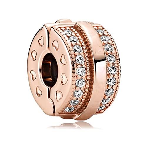 Pandora 925 plata esterlina broche de seguridad encanto de cuentas de oro rosa pulsera original colgante de plata que hace las mujeres joyería Diy