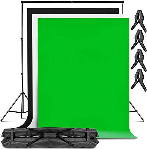 amzdeal 3m*2.3m Foto Hintergrund Ständer 3pcs 2m × 3m Greenscreen Hintergründe (Weiß, Schwarz, Grün) für Foto, Fotostudio Kit, Produktfotografie und Videoaufnahmen, Foto- und Porträthintergründe