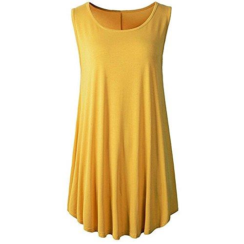 Art Weise Damen T-Shirt Beiläufige Normallack 0 ärmelloses Blusen Langes Hemd Herbst Trompeten Weste Top