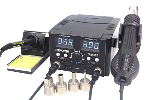 TEKPOWER TP8582D 2-IN-1 70W SOLDERING IRON AND 750W SMD HOT AIR REWORK STATION 896 °F MAXIMUM