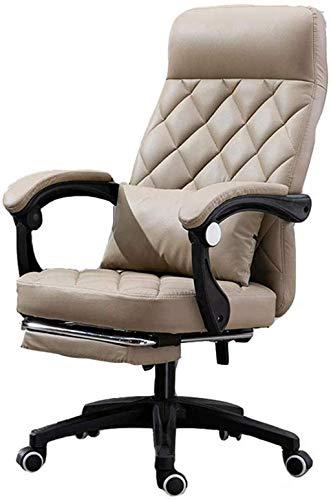 YONGYONGCHONG Bürostuhl, Gaming-Stuhl, Bürostuhl, hohe Rückenlehne, Drehstuhl, Computerstuhl, Haushaltsstuhl, Business-Sitzstuhl (Farbe: Khaki, Größe: mit Fußstütze)