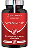Vitamin B12 (1000mcg High Strength) - 100% Vegan Bacterial Fermentation Cyanocobalamin Form - Boost Immune System and Reduction of Tiredness and Fatigue - 60 Plant-Based Capsules - French Expertise