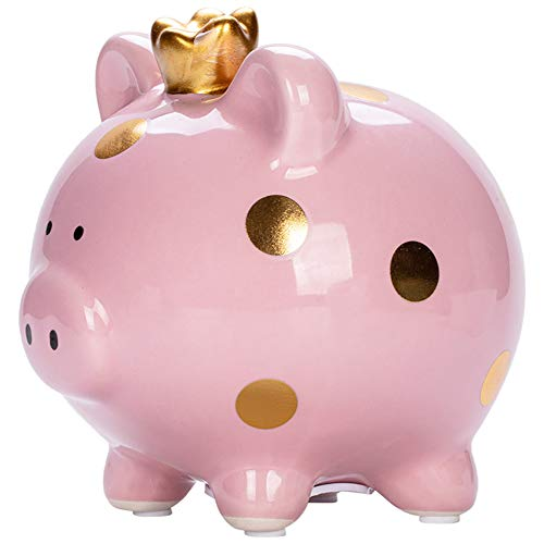 YJNSFT Piggy Bank for Girls, Small Ceramic Toddler Money Saving Bank for Boys, Porcelain Decor Coin Box, Little Decoration Pig Money Container, Unique Birthday Christmas New Year Gift for Kids (Pink)