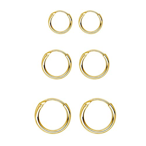 Sterling Silver Hoop Earrings for Women Men Girls, Hypoallergenic Cartilage Earring Endless Small Hoop Earrings Set, 3 Pairs Tragus Earrings (Gold,8mm/10mm/12mm)