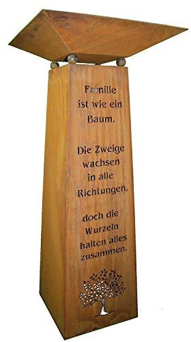 Rostikal | Edelrost Säule mit Familien Spruch und Dekoschale | Wohndeko für Haus und Garten | Gesamthöhe 115 cm (Schale 50 x 50 cm)