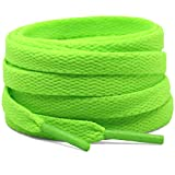 DELELE 2 Pair 55.12'Super Quality 24 Colors Flat Shoe laces 5/16' Wide Shoelaces for Athletic Running Sneakers Shoes Boot Strings Fluorescent Green