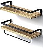 STOREMIC Estantes flotantes, juego de 2 estantes de pared rústicos con longitud...