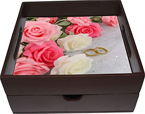 Embell Products, Tray with Drawer, Made in India, Wooden MDF, (Pink Rose Flower Theme), in Brown Color