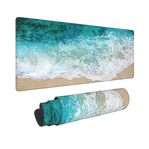Beach Ocean Coastal Extended Mouse Pad 31.5x11.8 Inch Sea Wave Cool Summer XL Non-Slip Rubber Base Large Teal Blue Green Mousepad Stitched Edges Keyboard Mouse Mat Desk Pad for Office Home Game