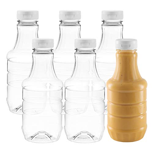 Pack of 6 Empty Sauce Bottles - Dressing Bottle For Homemade Sauces, Salad Dressings, Hot Sauce,