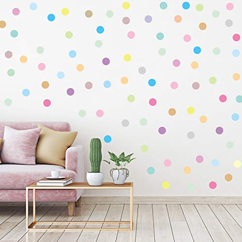 240 Pieces 2 Inch MultiColor Dots Wall Stickers Vinyl Polka Dots Decals Circle Wall Stickers for Kids Boys Girls Bedroom Living Room Wall Decor 20 Pastel Rainbow Colors