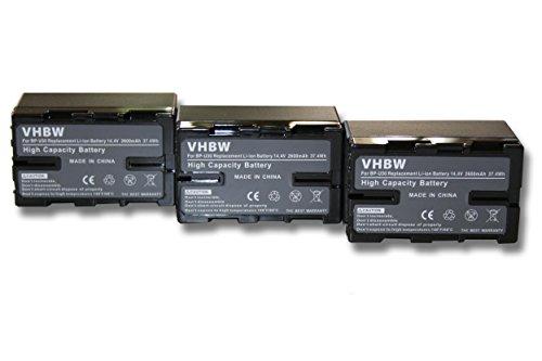 3 x vhbw Set baterías 2600mAh para videocámara Sony PMW-EX1, PMW-EX3, PMW-F3,...