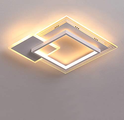 Lámpara Techo LED Moderna Sala Estar Regulable Con Control Remoto,Diseño Cuadrado Plafón Comedor,Φ42CM/46W, Temperaturas Color 3000-6000K Para Dormitorio, Caffetteria, Estudio,Blanco