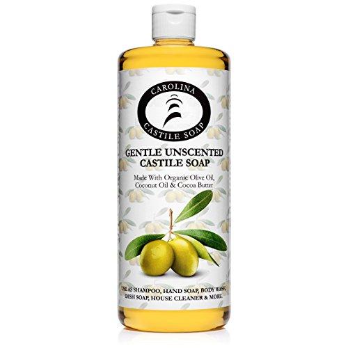 Unscented Castile Soap Liquid - 32 oz Vegan & Pure Organic Soap - Carolina Castile Soap -...