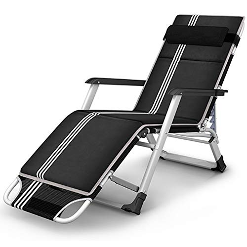 KILLM Household Products Patio Chairs Reclining Sun Loungers Zero Gravity Chaise Lounges Outdoor Garden Rocking Deck Chair For Beach Camping Supports 200kg,Black