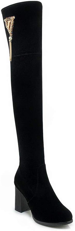 AdeeSu Womens Chunky Heels Tassels Imitated Suede Boots SXC03389