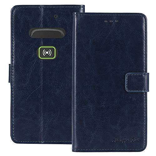 TienJueShi Dark Blau Retro Business Flip Book Stand Brief Leder Tasche Schütz Hülle Handy Hülle Für Doro Secure 580IUP Abdeckung Wallet Cover Etui