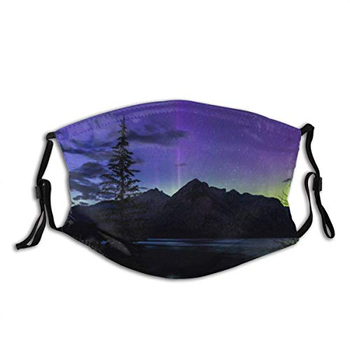 Banff National Park Aurora Canada Lake Mountain Dust Face Cover Mask Guard with Replaceable Filter Activated Carbon Soft Breathable Outdoor/Sports/Motor/Cycling Adults