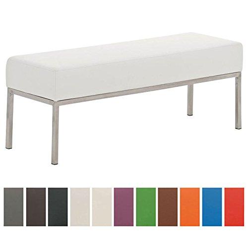 CLP 3er-Sitzbank Lamega Kunstleder I Moderne Sitzbank Mit Polsterung Und Edelstahlgestell I In Vielen Farben, Farbe:weiß