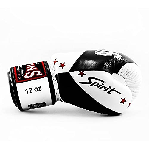 Twins Spirit Boxing Gloves BGVL10 Adult Muay Thai Kickboxing Gloves 10oz 12oz 14oz 16oz Sparring Gloves Training Gloves (Black/White, 10oz)