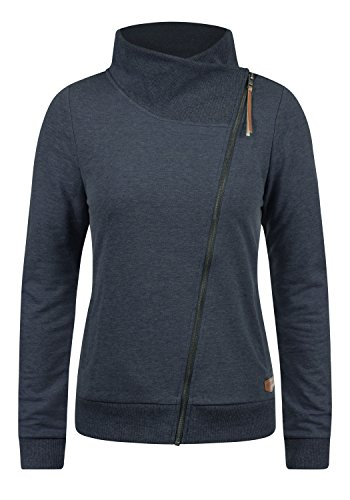 DESIRES Candy Damen Sweatjacke Jacke Sweatshirtjacke Mit Stehkragen, Größe:S, Farbe:Insignia Blue Melange (8991)