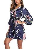 Women's Floral Satin Robes Short Silky Kimono Bridal Robes Sleepwear Loungewear Navy