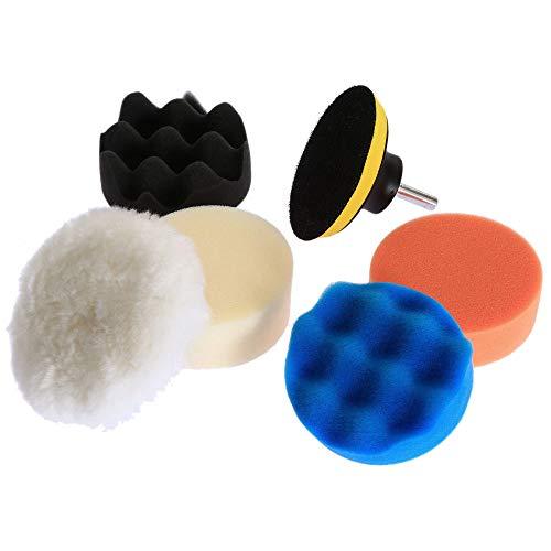 GFHDGTH 6 stks 80mm polijsten polijsten pad, 3 inch auto polijsten pad voor auto polijstmachine wax met boor adapter M10 power tools accessoires