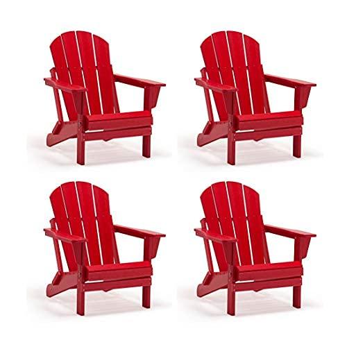 Juego de 4 piezas Poli plegable Poly Adirondack Silla para patio trasero, césped, patio, cubierta, jardín, resistente a la intemperie ...