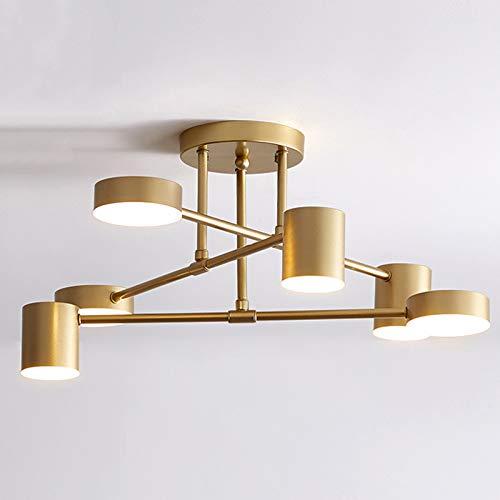 Nordic Metal Retro Chandelier, Dimming Semi-Flush Mount Designer Minimalist Ceiling Light, for Living Room, Dining Room, Bedroom, Kitchen, Restaurant,Gold