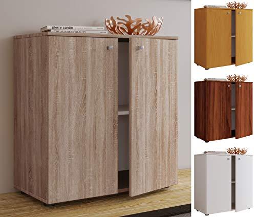 VCM Sideboard Kommode Anrichte Aktenschrank Bücherregal Büroschrank Dielenmöbel Kern-Nussbaum 70x70x40 cm Vandol Mini