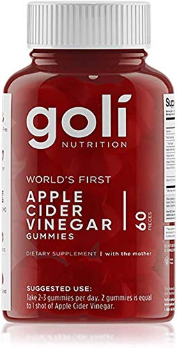 Apple Cider Vinegar Gummy Vitamins by Goli Nutrition - Immunity & Detox - (1 Pack, 60 Count, with The Mother, Gluten-Free, Vegan, Vitamin B9, B12, Beetroot, Pomegranate)