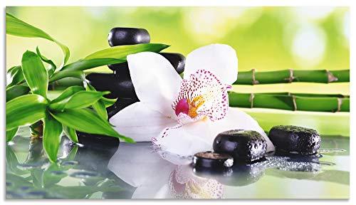 Artland Spritzschutz Küche aus Alu für Herd Spüle 50x90 cm Küchenrückwand mit Motiv Natur Zen Pflanze Spa Steine Bambus Asien Orchidee T9IQ