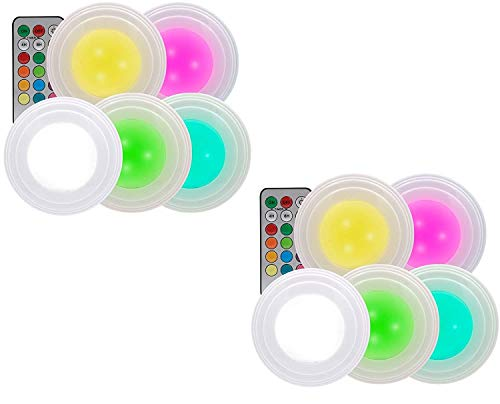 HandyLux Color Click, kabellose LED Leuchte, Safe Touch, Set mit 10 Stück, 12 verschiedene Farben, Fernbedienung, Dimmerfunktion, Timer, Klebepads, Batteriebetrieb | Das Original aus dem TV