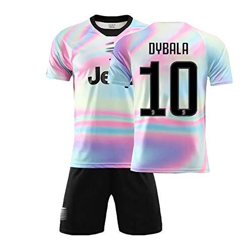 LJHCR Jersey de fútbol, para Dybala # 10 Ronaldo # 7 Rainbow Juven Football Jersey Commemorative Edition Jersey Adultos Niños NO.10-22