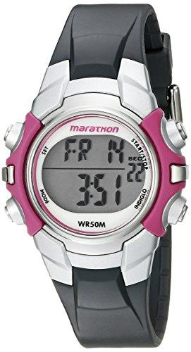 Marathon by Timex Women's T5K646 Digital Mid-Size Gray/Pink Resin Strap Watch