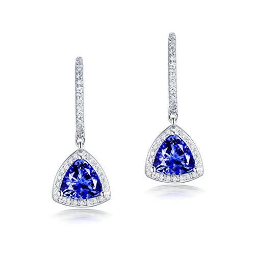 Beydodo Weißgold Ohrhänger 750, Triangel Tansanit 2.6ct Damen Weißgold Ohrringe Diamant Hochzeit