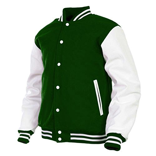 Men's Varsity Jacket Genuine Leather Sleeve and Wool Blend Letterman Boys College Varsity Jackets (Green(AR-8), Medium)