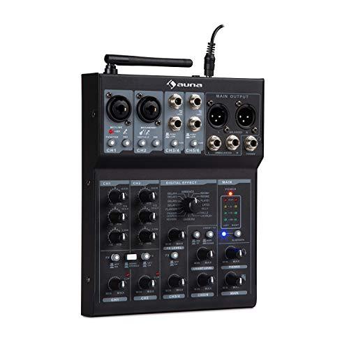 auna Blackbird - Mesa de Mezclas de 6 Canales , Equipo DJ , Función Bluetooth , Puerto USB , Conexión al PC , 16 Efectos Digitales , Conectores de micrófono XLR , Apto para Principiantes , Negro