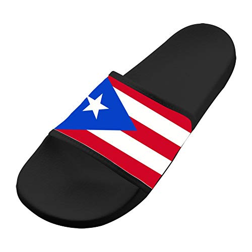 Adult 3D Print Indoor/Outdoor Slippers,Puerto Rico Flag Flat Sandals Shoes Black 8 B(M) US