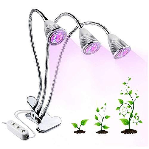 21W Lumières LED GROW Lampe de croissance Triple avec Fixture Commutateur Separate pour plantes d'intérieur, 360 ° Ajustable col de cygne lumière pour hydroponique Serre Bureau/Usine