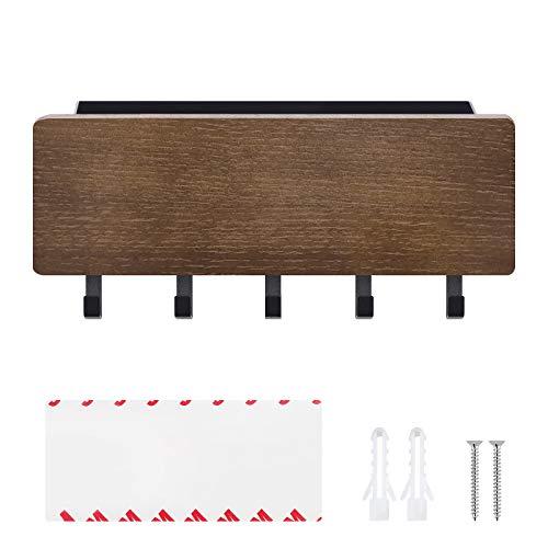 Supporto per chiavi da parete, in legno, organizer con 5 ganci per chiavi, 18,5 x 3 cm, moderno, scaffale galleggiante per casa, ingresso e ufficio
